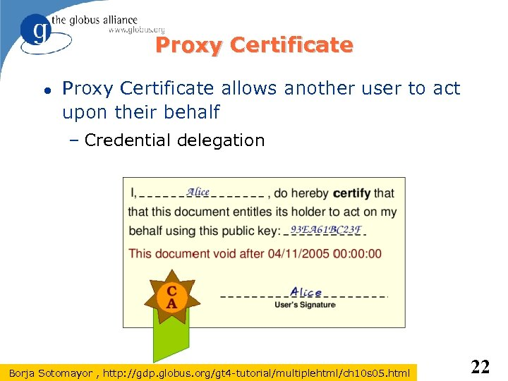 Proxy Certificate allows another user to act upon their behalf – Credential delegation Borja