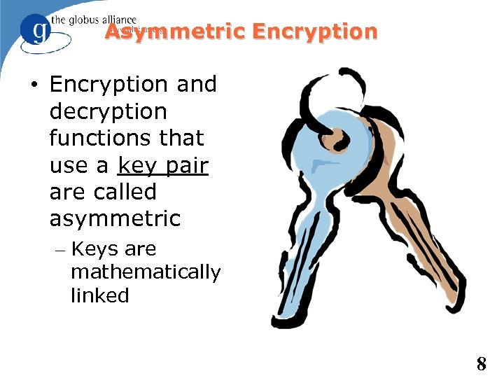 Asymmetric Encryption • Encryption and decryption functions that use a key pair are called