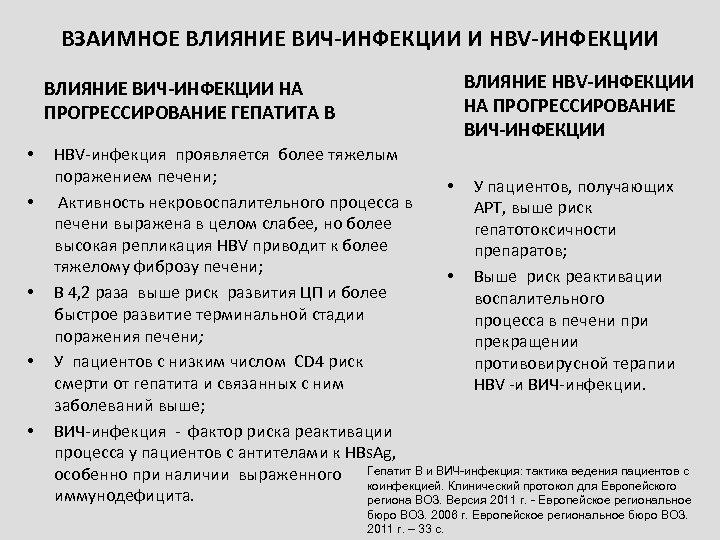 ВЗАИМНОЕ ВЛИЯНИЕ ВИЧ-ИНФЕКЦИИ И HBV-ИНФЕКЦИИ ВЛИЯНИЕ ВИЧ-ИНФЕКЦИИ НА ПРОГРЕССИРОВАНИЕ ГЕПАТИТА B • • •