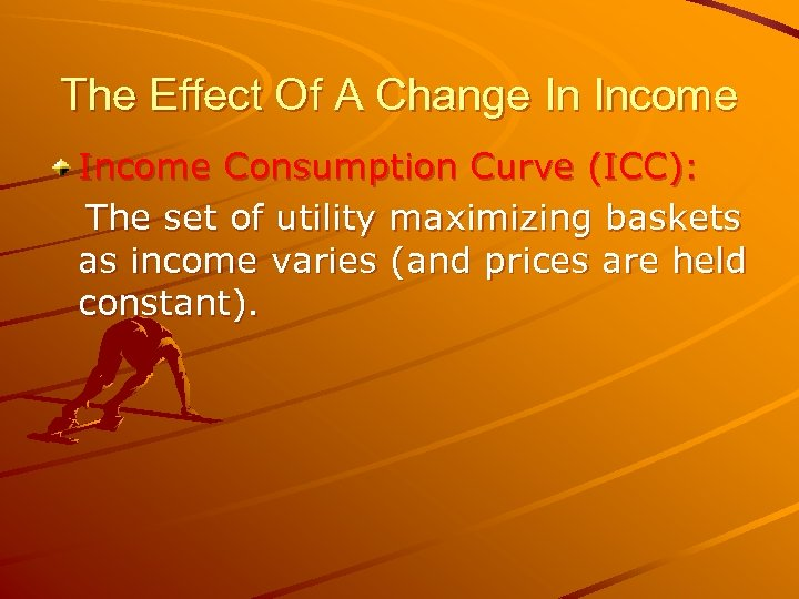 The Effect Of A Change In Income Consumption Curve (ICC): The set of utility