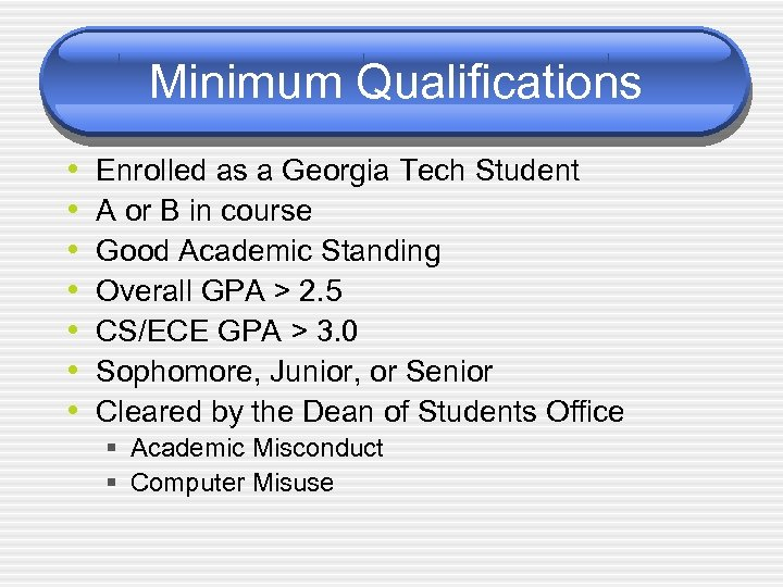 Minimum Qualifications • • Enrolled as a Georgia Tech Student A or B in