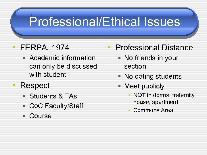 Professional/Ethical Issues • FERPA, 1974 § Academic information can only be discussed with student
