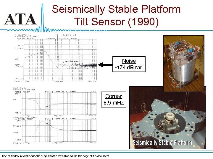 Seismically Stable Platform Tilt Sensor (1990) Noise -174 d. B rad Corner 6. 9