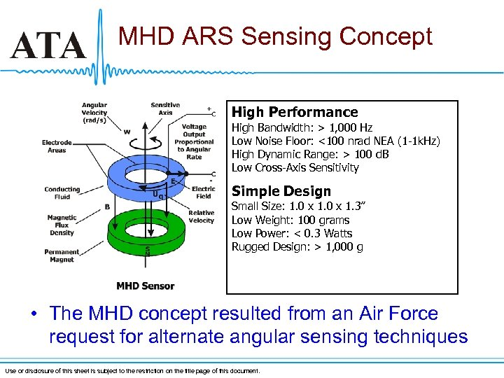 MHD ARS Sensing Concept High Performance High Bandwidth: > 1, 000 Hz Low Noise