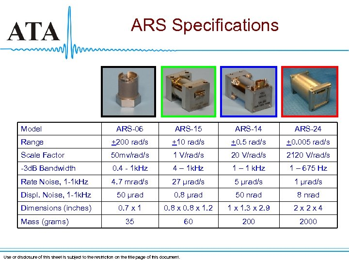ARS Specifications Model ARS-06 ARS-15 ARS-14 ARS-24 Range +200 rad/s +10 rad/s +0. 5