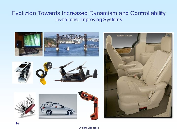 Evolution Towards Increased Dynamism and Controllability Inventions: Improving Systems 16 Dr. Sara Greenberg