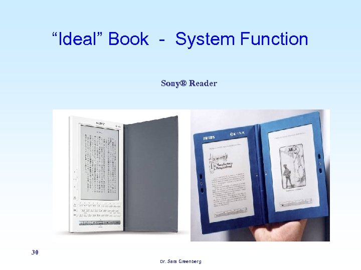 """Ideal"" Book - System Function Sony® Reader 30 Dr. Sara Greenberg"