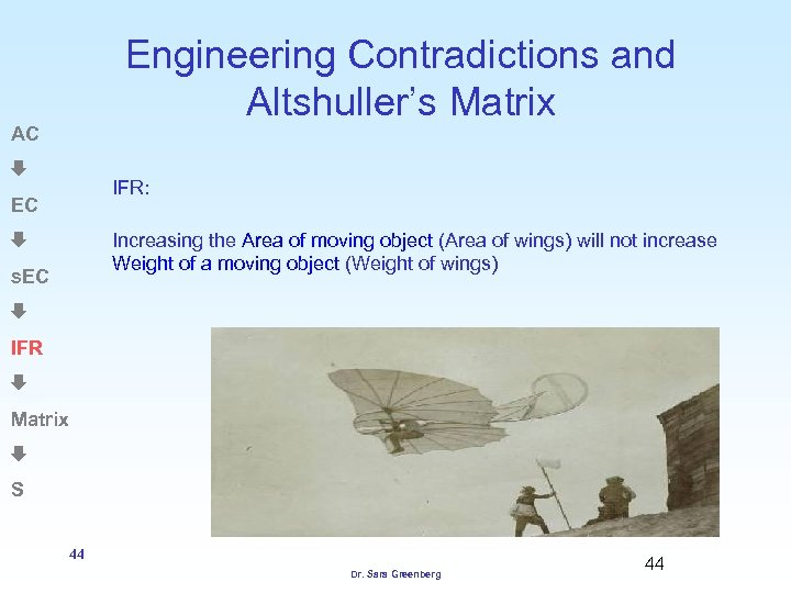 Engineering Contradictions and Altshuller's Matrix AC IFR: EC Increasing the Area of moving object