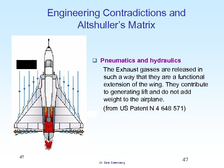 Engineering Contradictions and Altshuller's Matrix q Pneumatics and hydraulics The Exhaust gasses are released