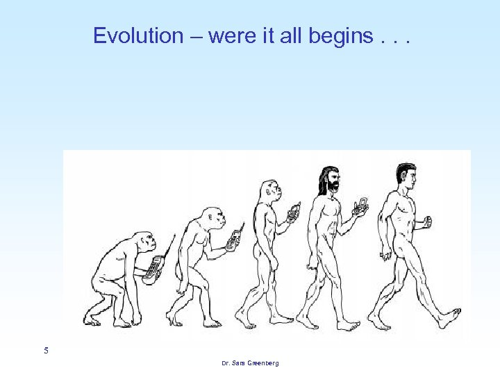 Evolution – were it all begins. . . 5 Dr. Sara Greenberg