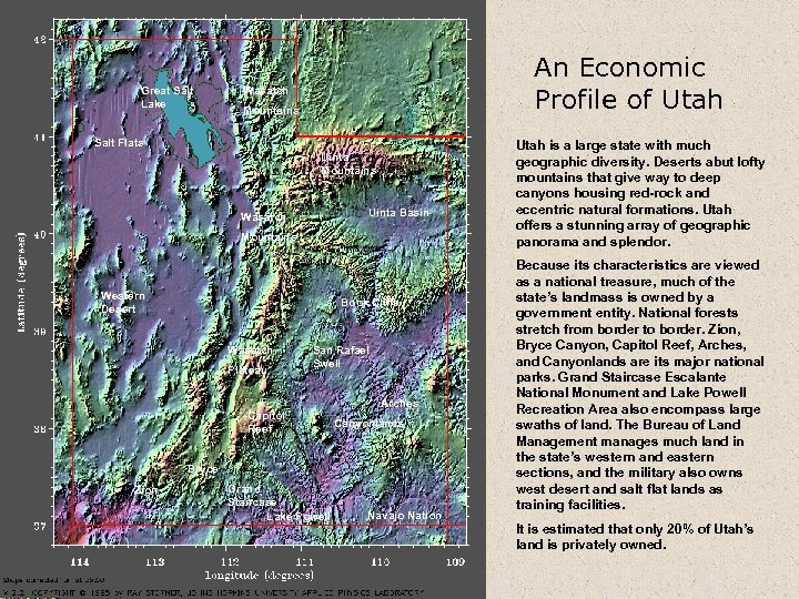 Great Salt Lake An Economic Profile of Utah Wasatch Mountains Salt Flats Uinta Mountains