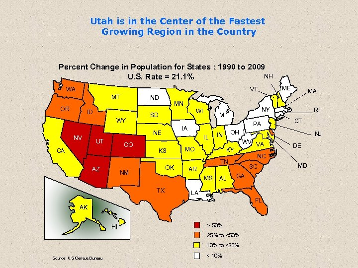 Utah is in the Center of the Fastest Growing Region in the Country Percent