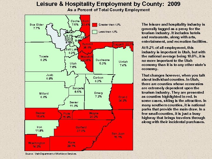 Leisure & Hospitality Employment by County: 2009 As a Percent of Total County Employment