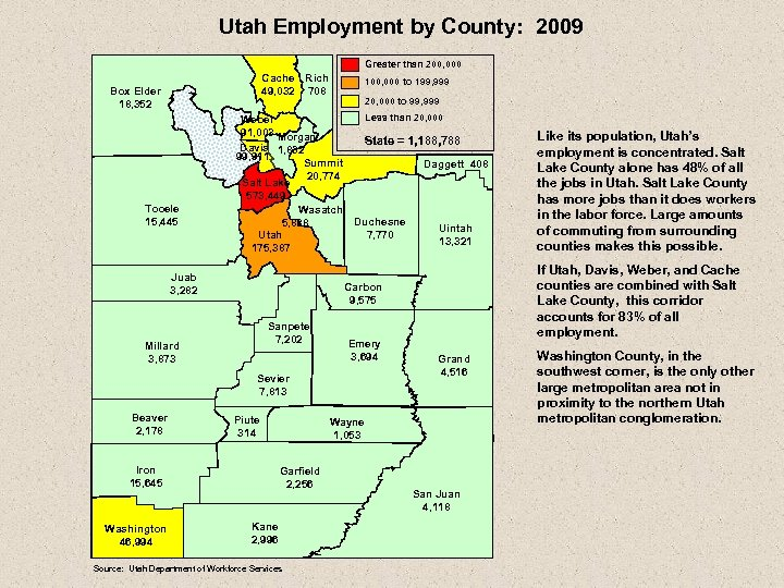 Utah Employment by County: 2009 Greater than 200, 000 Cache Rich 49, 032 708