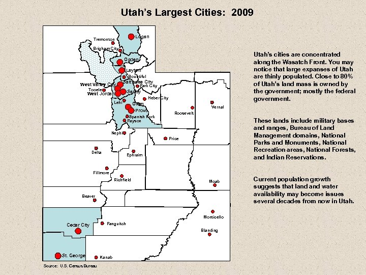 Utah's Largest Cities: 2009 Logan Tremonton Brigham City Utah's cities are concentrated along the