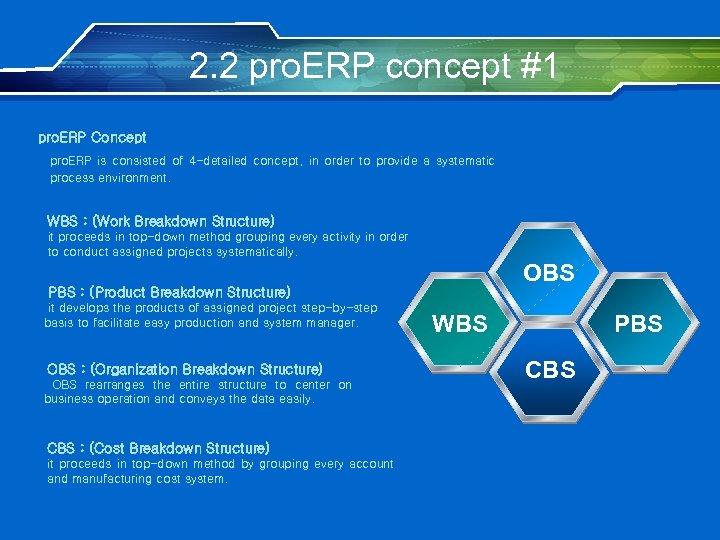 2. 2 pro. ERP concept #1 pro. ERP Concept pro. ERP is consisted of