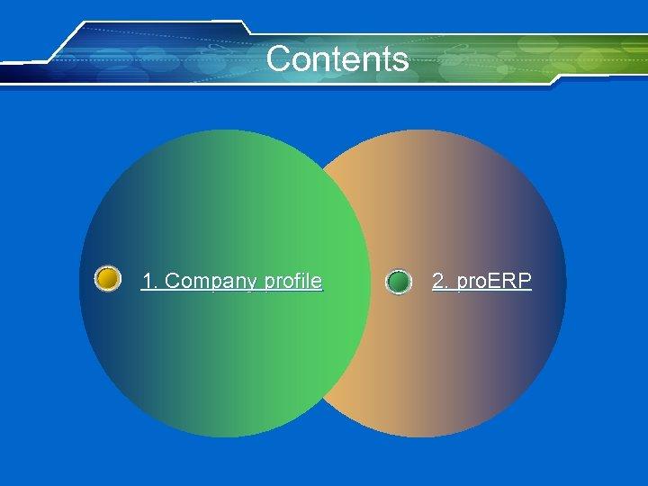 Contents 1. Company profile 2. pro. ERP