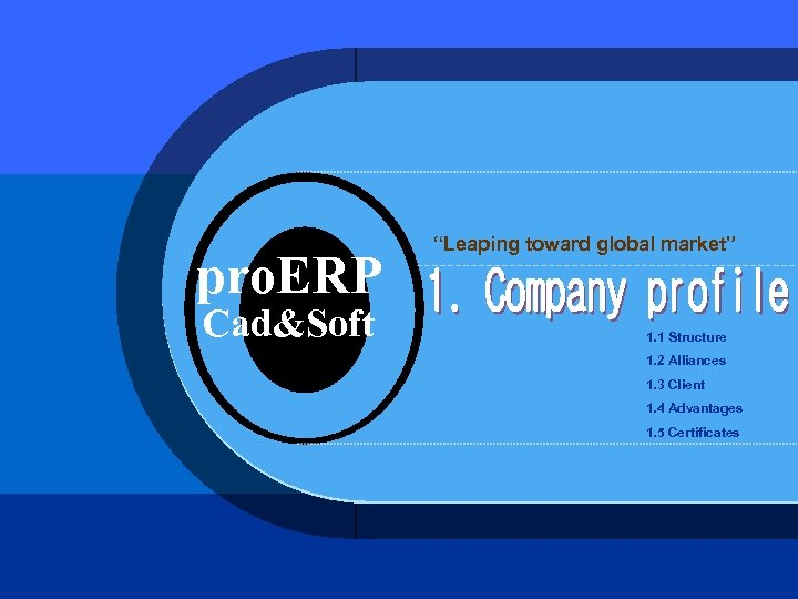 "pro. ERP Cad&Soft ""Leaping toward global market"" 1. 1 Structure 1. 2 Alliances 1."