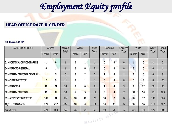 Employment Equity profile HEAD OFFICE RACE & GENDER 31 March 2005