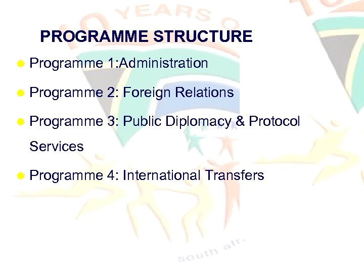 PROGRAMME STRUCTURE ® Programme 1: Administration ® Programme 2: Foreign Relations ® Programme 3: