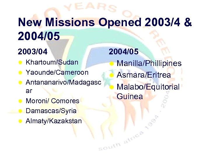 New Missions Opened 2003/4 & 2004/05 2003/04 ® ® 2004/05 Khartoum/Sudan ® Manilla/Phillipines Yaounde/Cameroon