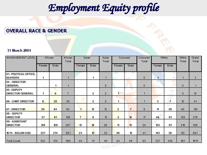 Employment Equity profile OVERALL RACE & GENDER 31 March 2005
