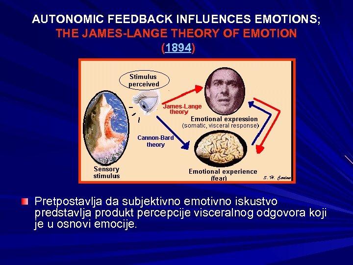 AUTONOMIC FEEDBACK INFLUENCES EMOTIONS; THE JAMES-LANGE THEORY OF EMOTION (1894) Pretpostavlja da subjektivno emotivno