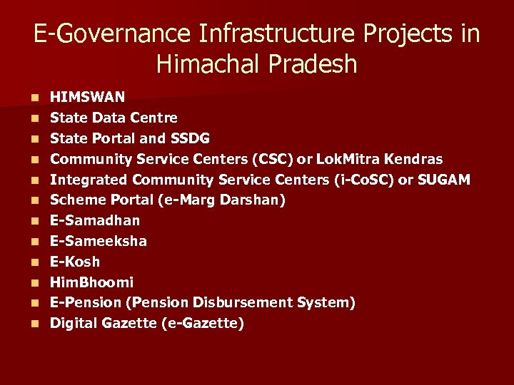 E-Governance Infrastructure Projects in Himachal Pradesh n n n HIMSWAN State Data Centre State