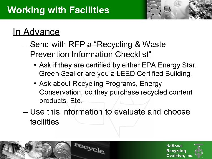 """Working with Facilities In Advance – Send with RFP a """"Recycling & Waste Prevention"""
