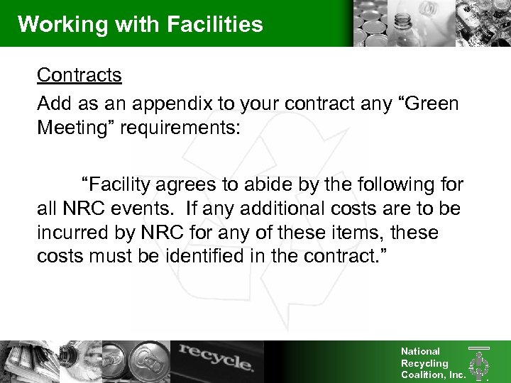 """Working with Facilities Contracts Add as an appendix to your contract any """"Green Meeting"""""""