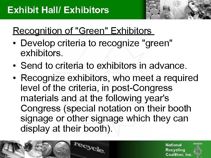 Exhibit Hall/ Exhibitors Recognition of