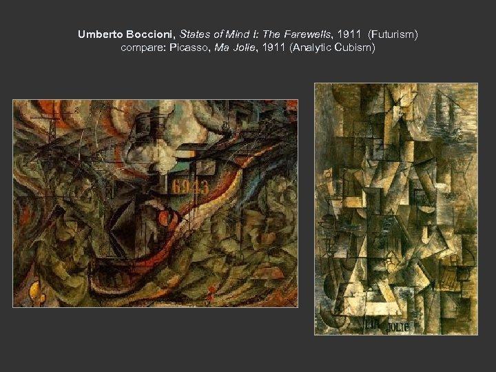 Umberto Boccioni, States of Mind I: The Farewells, 1911 (Futurism) compare: Picasso, Ma Jolie,