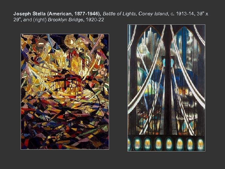 Joseph Stella (American, 1877 -1946), Battle of Lights, Coney Island, c. 1913 -14, 39""