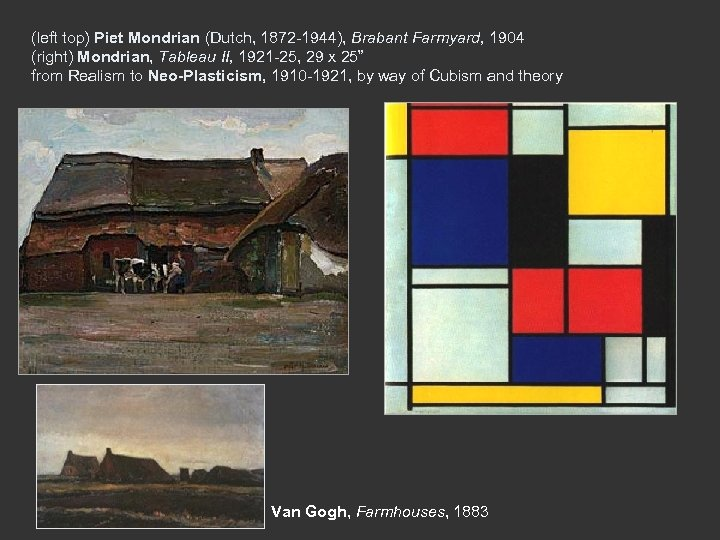 (left top) Piet Mondrian (Dutch, 1872 -1944), Brabant Farmyard, 1904 (right) Mondrian, Tableau II,
