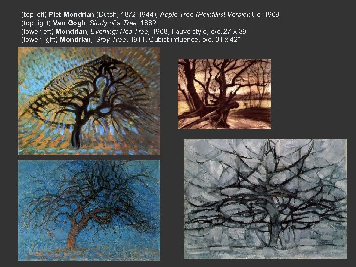 (top left) Piet Mondrian (Dutch, 1872 -1944), Apple Tree (Pointillist Version), c. 1908 (top