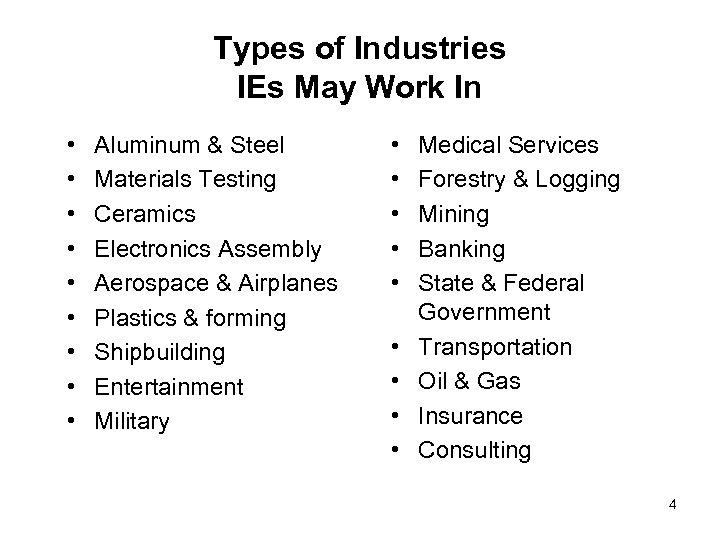 Types of Industries IEs May Work In • • • Aluminum & Steel Materials