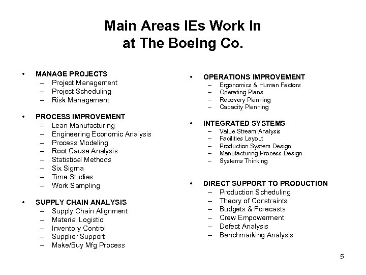 Main Areas IEs Work In at The Boeing Co. • • • MANAGE PROJECTS