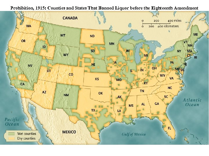 Prohibition, 1915: Counties and States That Banned Liquor before the Eighteenth Amendment