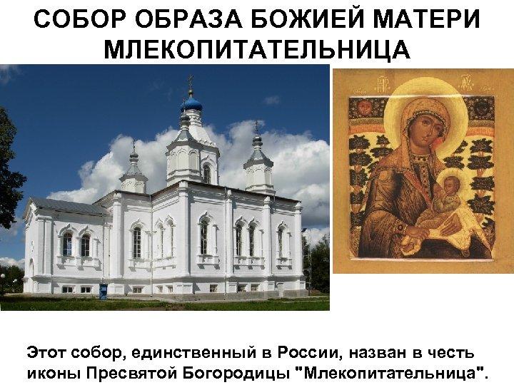 СОБОР ОБРАЗА БОЖИЕЙ МАТЕРИ МЛЕКОПИТАТЕЛЬНИЦА Этот собор, единственный в России, назван в честь иконы