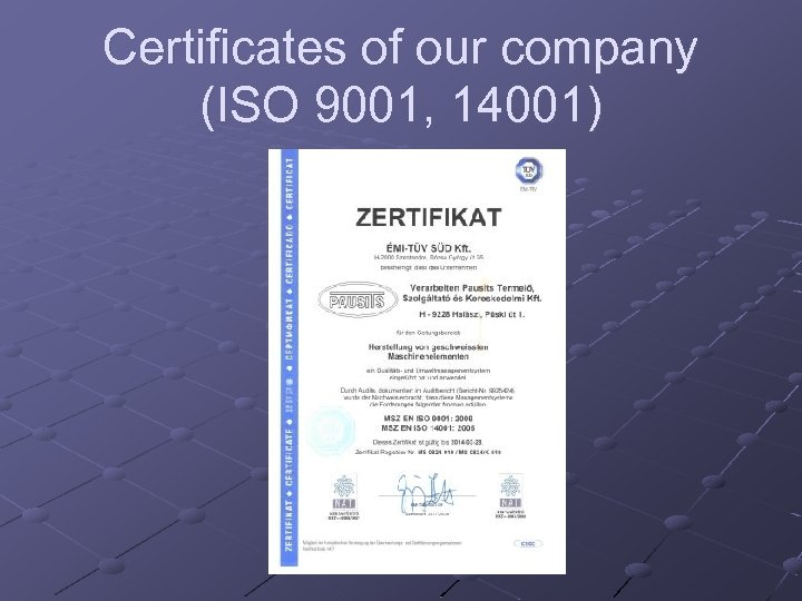 Certificates of our company (ISO 9001, 14001)