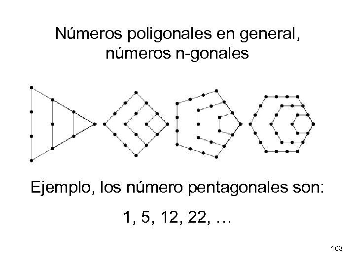 Números poligonales en general, números n-gonales Ejemplo, los número pentagonales son: 1, 5, 12,