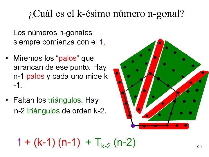 ¿Cuál es el k-ésimo número n-gonal? Los números n-gonales siempre comienza con el 1.