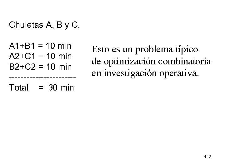 Chuletas A, B y C. A 1+B 1 = 10 min A 2+C 1
