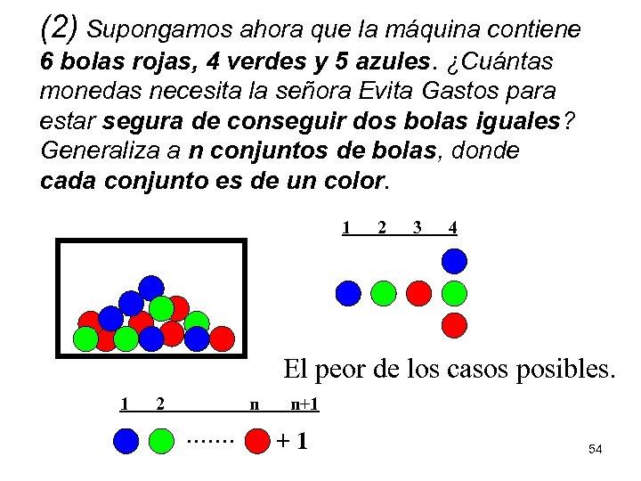 (2) Supongamos ahora que la máquina contiene 6 bolas rojas, 4 verdes y 5