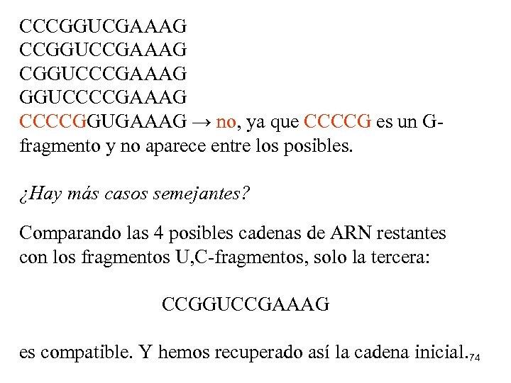 CCCGGUCGAAAG CCGGUCCGAAAG CGGUCCCGAAAG GGUCCCCGAAAG CCCCGGUGAAAG → no, ya que CCCCG es un Gfragmento y