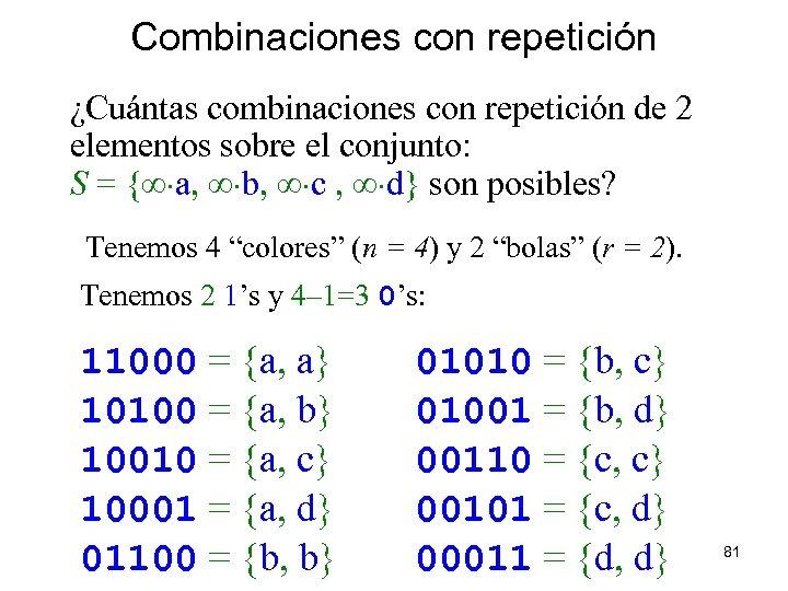 Combinaciones con repetición ¿Cuántas combinaciones con repetición de 2 elementos sobre el conjunto: S