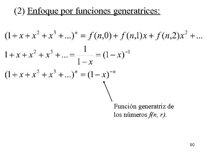 (2) Enfoque por funciones generatrices: Función generatriz de los números f(n, r). 90