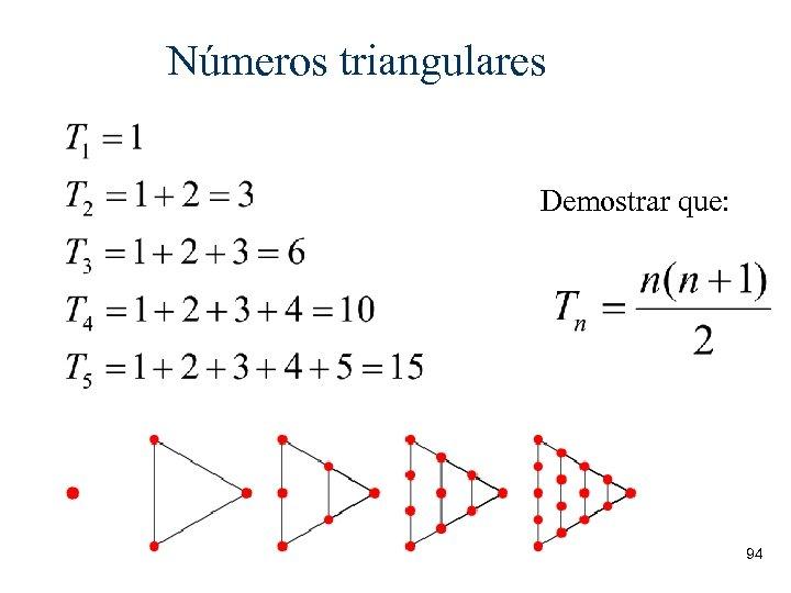 Números triangulares Demostrar que: 94