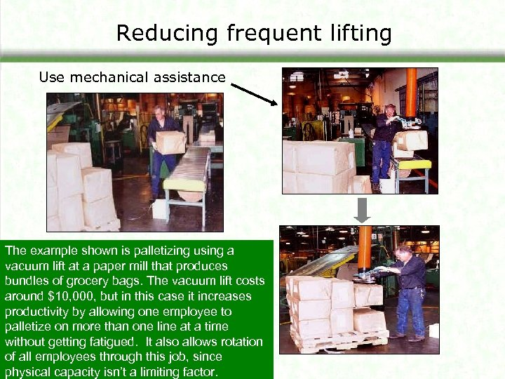 Reducing frequent lifting Use mechanical assistance The example shown is palletizing using a vacuum