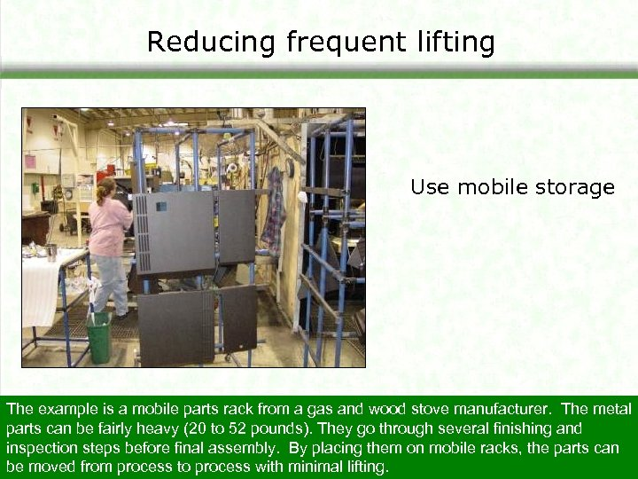 Reducing frequent lifting Use mobile storage The example is a mobile parts rack from